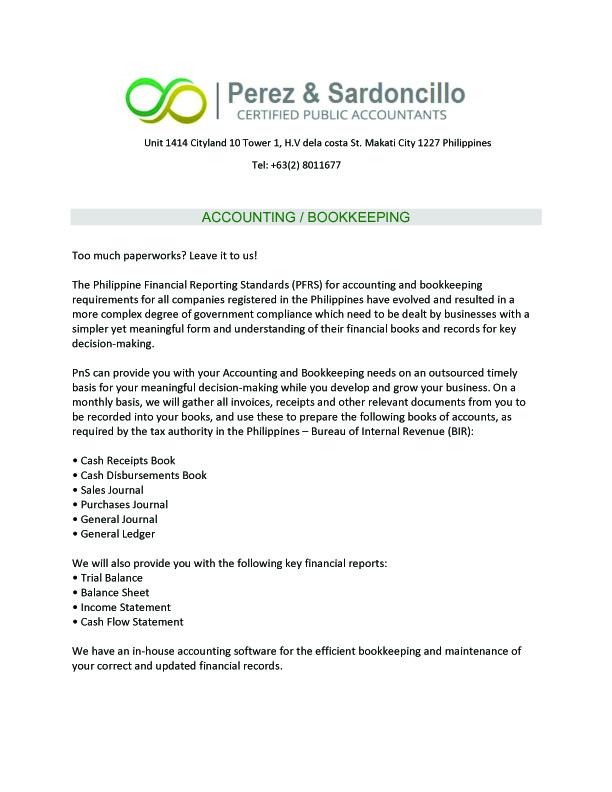 PEREZ & SARDONCILLO CERTIFIED PUBLIC ACCOUNTANTS
